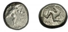 2116  -  GRECIA ANTIGUA. Panfilia. Aspendos. Estátera (465-430 a.c.). A/ Guerrero avanzando a der. con escudo y lanza. R/ Trisqueles dentro de cuadrado incuso; EW. Ar 10,9 g. 19,2 mm. COP-153. Acuñación floja. BC+.