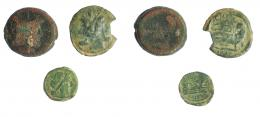 2138  -  REPÚBLICA ROMANA. Lote de 3 bronces: 2 ases y 1 semis, 1 de ellos con rotura en el borde.  RC/ BC+
