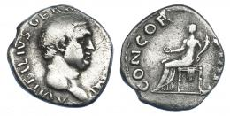 2194  -  IMPERIO ROMANO. VITELIO. Denario. Roma (69 d.C.). A/ Cabeza a der.; A VITELLIVS GERM(ANICVS) IMP. R/ Concordia sentada a izq. con pátera y cornucopia; CONCOR(DIA P R). AR 3,05 g. 18,2 mm. RIC-66. MBC-. Escasa.