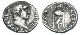 2195  -  IMPERIO ROMANO. VITELIO. Denario. Roma (69 d.C.). A/ Cabeza laureada a der. R/ Trípode, encima delfín y cuervo en el interior; XV VIR SACR FAC. AR 2,99 g. 18,0 mm. RIC-109. Rayita en anv. Erosiones. BC+. Escasa.