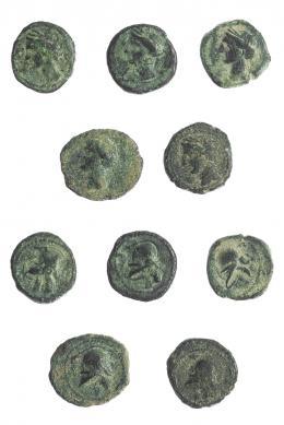 2002  -  HISPANIA ANTIGUA. Lote de 5 piezas de 1/4 de calco. I-521. ACIP-582. Calidad media. BC+.