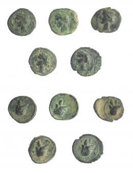 2003  -  HISPANIA ANTIGUA. Lote de 5 piezas de 1/4 de calco. I-521. ACIP-582. Calidad media. BC+.