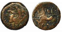 2032  -  HISPANIA ANTIGUA. GADIR. Cuarto. R/ Delfín con tridente a izq., enciama y debajo ley. mp'l/'gdr. AE 2,8 g. 17,4 mm. CNH-50. I-1356. ACIP-680. MBC-/BC+.
