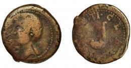 2033  -  HISPANIA ANTIGUA. GADIR. Augusto. Sestercio. A/ Cabeza de Tiberio a izq., delante NERO. R/ Símpulo a izq.; TI CLAV(DIVS). AE 17 g. 30,5 mm. RPC-88. I-1386. APRH-88. ACIP-3318. Raya en anv. BC-.