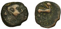 2036  -  HISPANIA ANTIGUA. ILTURIR-FLORENTIA. As. A/ Cabeza masculina a der. R/ Esfinge a der., bajo línea ley. IL(…). AE 10,57 g. 27,7 mm. I-1499. ACIP-2298. RC/BC-.