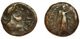 2038  -  HISPANIA ANTIGUA. ILTURIR-FLORENTIA. Semis. A/ Cabeza masculina a der. con casco, del. ILTuRIR. R/ Victoria a der., detrás palma. AE 4,4 g. 18,2 mm. I-1507. ACIP-2290. BC+/BC. Muy escasa.