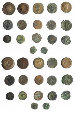 2004  -  HISPANIA ANTIGUA. Lote de 17 piezas ibéricas e hispano-romanas. De MC a BC.
