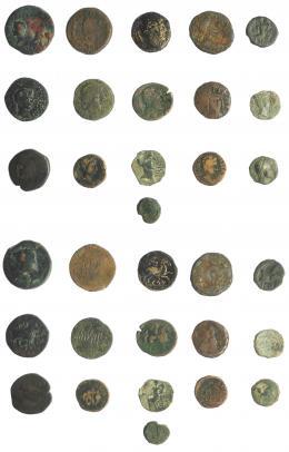 2005  -  HISPANIA ANTIGUA. Lote de 16 piezas ibéricas e hispano-romanas. De RC a BC+.