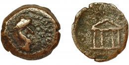 2055  -  HISPANIA ANTIGUA. MALAKA. Mitad. A/ Cabeza de Vulcano a der. con gorro cónico, delante tenazas. R/ Templo tetrástilo. AE 3,49 g. 17,6 mm. I-1741. ACIIP-796. BC+. Rarísima.