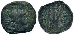 2057  -  HISPANIA ANTIGUA. OBULCO. Semis. A/ Cabeza femenina a der. R/ Lira, a izq. creciente y IIII, a der. ley. (O)BVLCO. AE 5,37 g. 17,7 mm. I-1852. ACIP-2251. BC+. Muy rara.