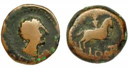 2059  -  HISPANIA ANTIGUA. OLONTIGI. Unidad. A/ Cabeza masculina a der. R/ Jinete a der., debajo LONT. AE 16,3 g. 26,8 mm. I-1877. ACIP-858. BC+. Rarísima.