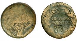 2063  -  HISPANIA ANTIGUA. COLONIA PATRICIA. Augusto. As. R/ Corona cívica rodeando COLONIA/PATRICIA. Contramarca CR. AE 9,4 g. 24,9 mm. RPC-129. I-1989. APRH-129. ACIP-3357. El resello MBC.