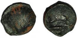 2073  -  HISPANIA ANTIGUA. ARSE-SAGUNTUM. Sexto. A/ Venera. R/ Delfín a der., debajo clava, encima creciente. AE 1,5 g. 11,7 mm. I-no. ACIP-1981. BC+/MBC-. Rara.