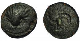 2075  -  HISPANIA ANTIGUA. ARSE-SAGUNTUM. Cuadrante. A/ Venera. R/ Delfín a der., a der. 3 puntos, encima ley. latina PV.CA, debajo ley. ibérica ARSE. AE 3,5 g. 17,5 mm. I-2057. ACIP-2000. Defectos de cospel en anv. y rev. BC.