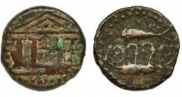 2008  -  HISPANIA ANTIGUA. ABDERA. Unidad. A/ Templo tetrástilo. R/ Dos atunes, en medio ley. fenicia 'bdrt. AE 8,8 g. 25,1 mm. CNH-1. I-10. ACIP-874. BC+. Escasa.