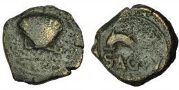 2085  -  HISPANIA ANTIGUA. ARSE-SAGUNTUM. Cuadrante. A/ Venera con adornos. R/ Delfín a izq., debajo SAGVNT. AE 3,7 g. 17,8 mm. I-2089. ACIP-2010. BC/BC+. Rara.