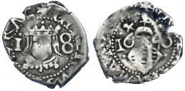 1025  -  FELIPE IV. Dieciocheno. 1640. Valencia. En nuestra opinión, la última cifra es un 0 y no un 6. AC-816. MBC-/BC+. Muy rara.