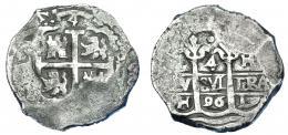 1054  -  CARLOS II. 4 reales. 1696. Lima. H. AC-471. Vanos. BC+/MBC-. Muy escasa.