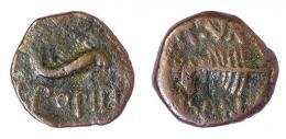 21  -  CARTAHGO NOVA. Semis (mediados-finales s. I a.C.). A/ Delfín a der.; (C CAEDI)/T POPILI. R/ Palma a izq.; II VIR/(Q)VIN. AE 4,01 g. 19 mm. RPC-147. APRH-147. ACIP-2526. CC- 4363, mismo ejemplar. Pátina oscura. BC+. Escasa.