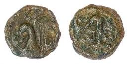 22  -  CARTHAGO NOVA. Cuadrante (mediados-finales s. I a.C.). A/ Proa a der,; CA-ED. R/ Ancla; PO-PI. AE 3,46 g. 17 mm. RPC-148. APRH-148. ACIP-2527. CC-4364, mismo ejemplar. Pátina verde. BC+. Rarísima.
