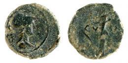 24  -  CARTHAGO NOVA. Semis (mediados-finales s. I a.C.). A/ Cabeza de Minerva a der. R/ Estatua a der. sobre pedestal; CV-IN. AE 7,21 g. 23 mm. RPC-151. APRH-151. ACIP-2531. CC-4366, mismo ejemplar. BC/BC-.