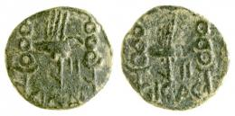 3  -  ACCI. Semis. Augusto. A/ Aquila entre dos signa; II/ C I G AC. R/ Similar al anv. AE 4,93 g. 21 mm. RPC S2I-134/6 mismo ejemplar. APRH-134 (esta moneda ilustrada). ACIP- 3002a, mismo ejemplar. CC-4329, mismo ejemplar*. Pátina verde rugosa. MBC. Rara.