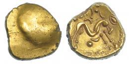 374  -  GRECIA ANTIGUA. GALIA. Tribus del Noreste. Ambianos. Estátera (60-30 a.C.). A/ Superficie convexa. R/ Caballo galopando a der., debajo creciente y punto. AU 6,22 g. 15,9 mm. DT-8710 vte. SBG-121. EBC-.