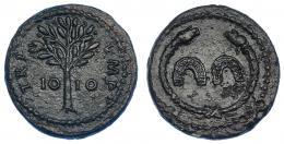 487  -  IMPERIO ROMANO. Domiciano. Cuadrante o tésera. Roma (81-96 d.C.). A/ Dos herraduras dentro de torques rematado en cabezas de serpiente. R/ Árbol, en campo IO-IO; TRI IMP. AE 2,61 g.  17,8 mm. MBC+. Pátina verde oscuro con pequeñas erosiones. Rara.