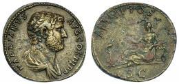 530  -  IMPERIO ROMANO. ADRIANO. Sestercio. Roma (134-138). A/ Busto laureado y drapeado a der.; HADRIANVS AVG COS III P P. R/ Aegyptos reclinada sobre cesta a izq. con sistro, delante ibis sobre columna; AEGYPTOS, exergo S C. AE 25,80 g. 32,9 mm. RIC-1594. Erosiones y concreciones. MBC+/MBC-. Muy escasa.