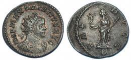 586  -  IMPERIO ROMANO. MAXIMIANO. Antoniniano. Lugdunum (291). A/ Busto radiado y con coraza a der. R/ Pax a izq. con Victoria sobre globo y cetro; PAX AVGG, exergo B. VE 3,95 g. 22,8 mm. R.B.O. MB+.