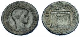 592  -  IMPERIO ROMANO. RÓMULO (hijo de Majencio). Follis. Acuñación póstuma. Ostia (309-312). A/ Cabeza a der.; IMP MAXENTIVS DIVO ROMVLO N V FILIO. R/ Templo con cúpula rematada en águila; exergo HOSTP; AETERNA MEMORIA. AE 6,23 g. 25,5 mm. RIC-33. MBC. Rara.