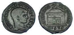 593  -  IMPERIO ROMANO. RÓMULO (hijo de Majencio). Follis. Acuñación póstuma. Ostia (309-312). A/ Cabeza a der.; DIVO ROMVLO N V BIS CONS. R/ Templo con cúpula rematada en águila; exergo MOSTS; AETERNA MEMORIA. AE 6,38 g. 24,3 mm. RIC-34. MBC-.