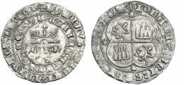 721  -  REINOS DE CASTILLA Y LEÓN. JUAN I. Real. Coruña A/ + DOMINUS: MICHI: ADIUTOR: ET EGO I/IPICII AE: INIMIOS: MEOS, venera bajo el anagrama del rey. R/ + IOHANIS: DEI: GRAUS: REX: CAST con las eses invertidas, castillos y leones cambiados. AR 3,04 g. 27,3 mm. III-No. BMM-800.4 vte. Aparentemente con el mismo cuño del rev. que la referenciada en BMM. Oxidaciones limpiadas. MBC+. ¿Única?