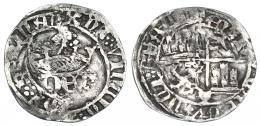 761  -  REINOS DE CASTILLA Y LEÓN. ENRIQUE IV. 1/2 real. Cuenca. R/ + ENRICUS CARTUS DEI GRACIA, estrella a la der. en anv. Ar 1,51 g. 20,8 mm. III-724 vte. BMM-934.3 vte. BC+. Rara.