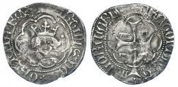 800  -  CORONA DE ARAGÓN. MARTÍN EL HUMANO (1396-1410). 1/2 real. Mallorca. Marca: bueyes en anv. y rev. AR 1,48 g. 20,2 mm. IV-520. Raya en rev. BC+. Muy escasa.