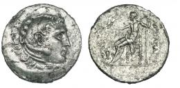 3  -  Tetradracma. Alejandro III. Temnos. R/ Delante de Zeus, jarra rodeada de vides y monograma. SBG-4226. Superficies erosionadas. MBC.
