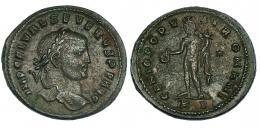 5  -  Follis. Severo II. Cízico. R/ GENIO POPV-LI ROMANI. Muy escasa. MBC.