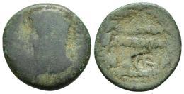 10  -  Sestercio. Treboniano Galo. Roma. R/ Virtus a der. con escudo y lanza. RIC-126a. Pátina verde. MBC/MBC-.