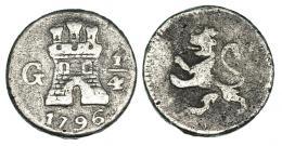 11  -  1/4 real. Carlos IV. 1796. Guatemala. MBC-/BC+.