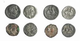 1  -  HISPANIA ANTIGUA. Lote de 4 denarios de Bolskan (2), Turiasu y Sekobirikes, 2 de ellos forrados. De BC+ a MBC.