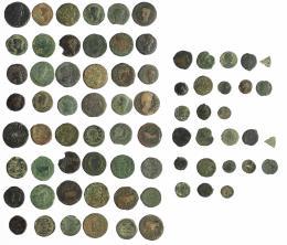 10  -  HISPANIA ANTIGUA. Lote de 37 bronces antiguos, en su mayoría hispano-romanos y romanos, de diferentes módulos. RC/BC+.
