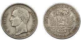 1002  -  MONEDAS EXTRANJERAS. VENEZUELA. 10 centavos. 1876. A. KM-13,1. MBC.