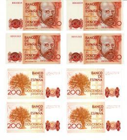 1011  -  BILLETES ESPAÑOLES. Lote de 4 billetes de 200 pesetas. 9-1980. Dos parejas correlativas sin serie. Ligera arruga en un billete. SC.