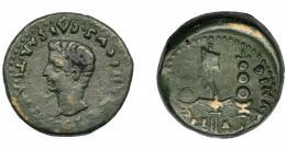 103  -  HISPANIA ANTIGUA. ITALICA. Semis. Tiberio. A/ Cabeza de Germánico. R/ Aquila y vexillum entre dos signa; (M)VNIC-(ITALIC-PE-R/ AV-G).  AE 8 g. 24,1 mm. RPC-70. APRH-70. I-1597. ACIP-3339. Rev. algo descentrado. MBC-.