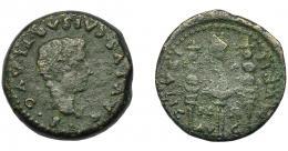 104  -  HISPANIA ANTIGUA. ITÁLICA. Semis. Tiberio. A/ Cabeza de Druso a der. R/ Aquila y vexillum entre dos signa; MVNIC-ITALIC-PE-R/ AV-G. AE 7,61 g. 23,4 mm. RPC-71. APRH-71.I-1596. ACIP-3340. BC+.