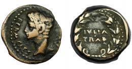 108  -  HISPANIA ANTIGUA. IULIA TRADUCTA. As. Augusto. R/ Láurea rodeando IVLIA TRAD. AE 12.41 g. 24,6 mm. I-1614. ACIP-3352. RPC-108. MBC.