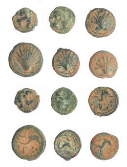 11  -  HISPANIA ANTIGUA. Lote de 6 monedas de Hispania antigua: 4 de Arse-Saguntum (1 cuadrante y 3 sextantes) y Ebusus (2 octavos de calco). BC-/MBC-.