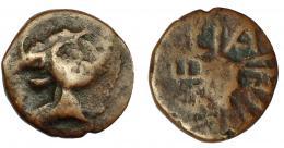 110  -  HISPANIA ANTIGUA. LAELIA. Semis. A/ Caballero con casco a derecha. R/Palma abierta, LAELIA. AE 4,32 g. 18,9 mm. I-1651. ACIP-2363. BC+. Rara.