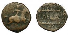 111  -  HISPANIA ANTIGUA. LAELIA. As. A/ Jinete lancero a der. R/ Dos espigas a izq., en medio LAELIA, alrededor láurea. AE 7,79g. 25,4 mm. I- 1649. ACIP-2368. BC. Muy escasa.