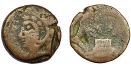 113  -  HISPANIA ANTIGUA. LASCUTA. As. A/ Cabeza de Melkart a izq. con leonté, delante LASCVT. R/ Altar con palmas, debajo ley. libio-fenicia no visible. AE 17,23 g. 28,2 mm. I-1665. ACIP-940. BC/RC. Muy rara.